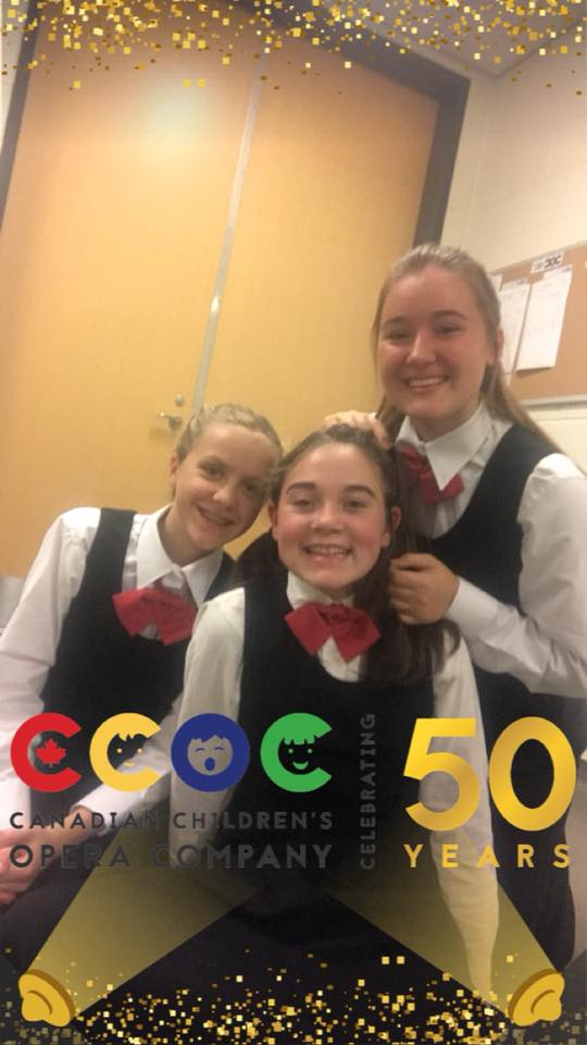 3 choristers with CCOC 50th anniversary filter