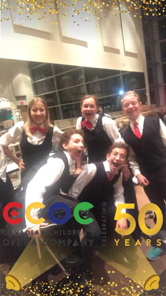 5 choristers with CCOC 50th anniversary filter