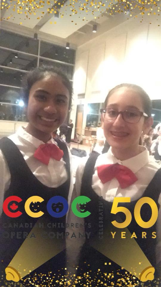2 choristers with CCOC 50th anniversary filter