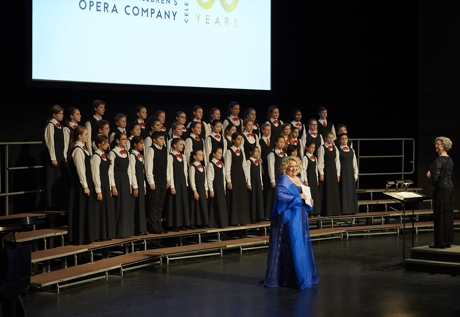 Stage photo of Karina Gauvin and full chorus